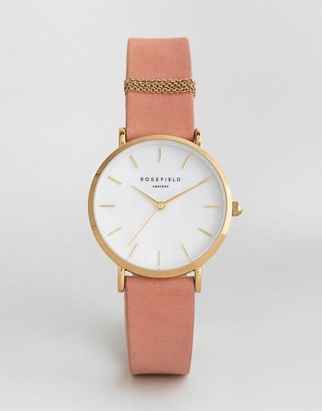 West Village Leather Watch In Pink 33mm