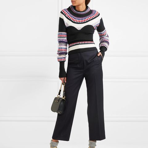 Ribbed Intarsia-Knit Sweater
