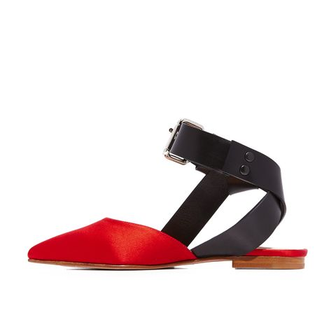 Satin Ankle Strap Flats
