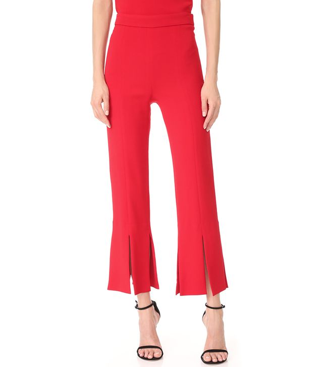 Cropped Pants with Slits at Hem