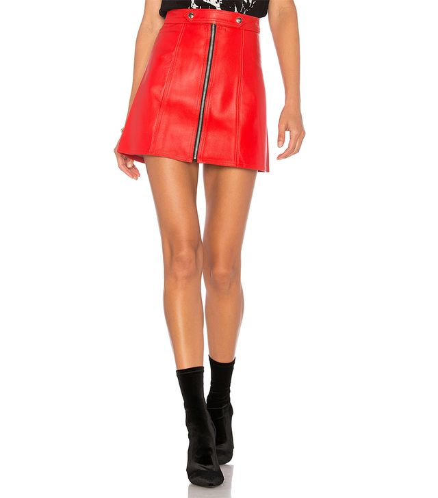 x REVOLVE High Waisted Zip Skirt in Red. - size L (also in M)