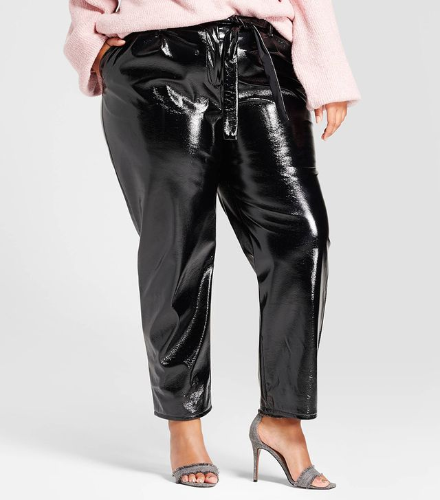 Plus Size Tapered Leg Patent Paperbag Trouser