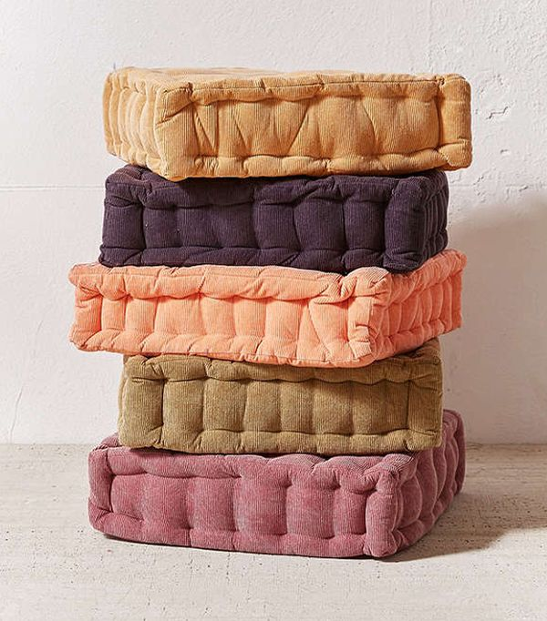 Washed Corduroy Floor Pillow - Peach 18 SQ at Urban Outfitters