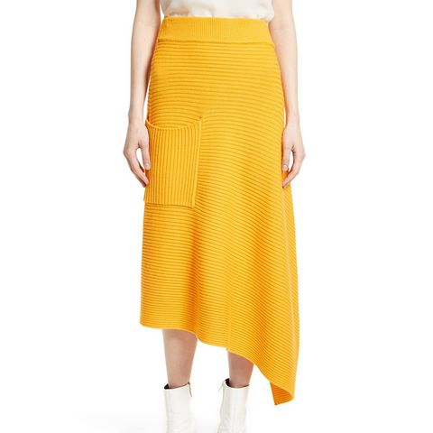 Asymmetrical Rib Merino Wool Skirt