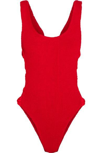 Hunza G Greta Bow-Embellished Seersucker Swimsuit