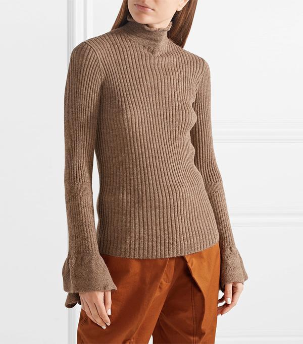 Raine Cutout Ribbed Alpaca And Wool-blend Turtleneck Sweater