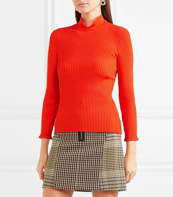 Romilly Crochet-trimmed Ribbed-knit Top