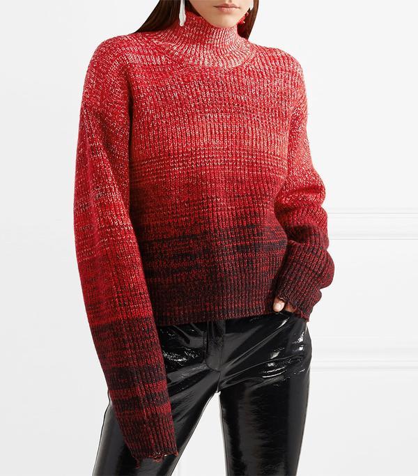 Oversized Mélange Wool-blend Turtleneck Sweater