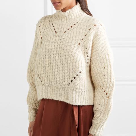 Farren Cropped Ribbed Wool-Blend Turtleneck Sweater