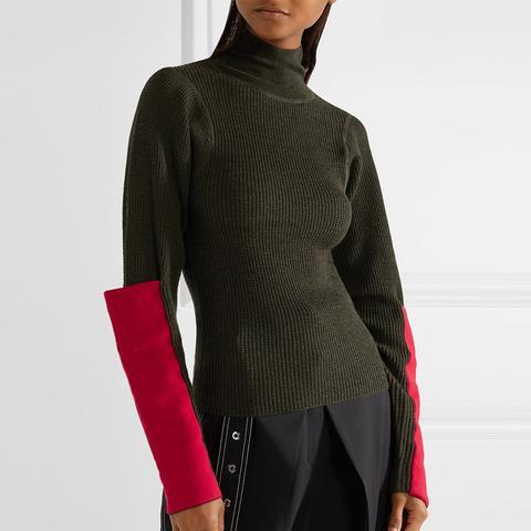Paneled Waffle-Knit Merino Wool Turtleneck Sweater
