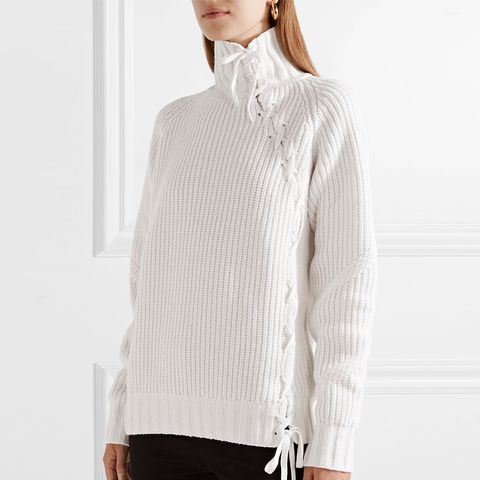 Lace-Up Ribbed-Knit Turtleneck Sweater