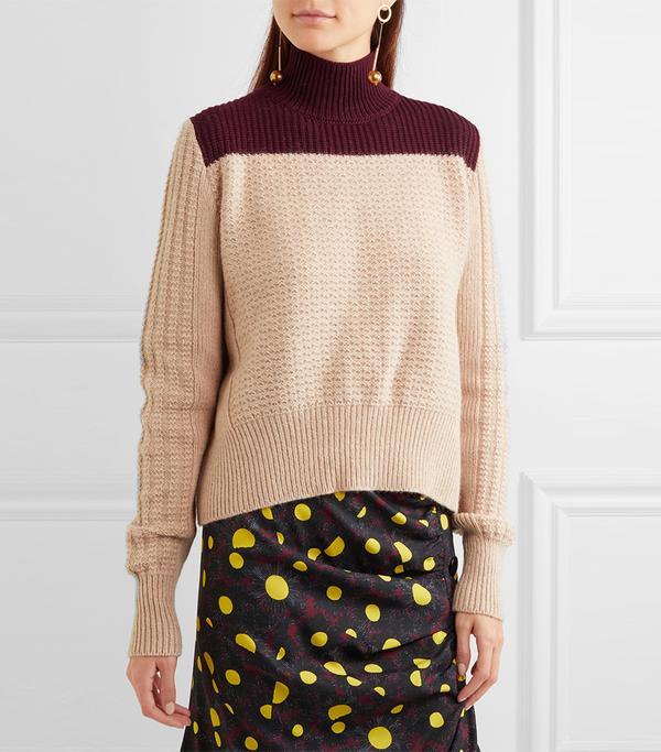 Two-tone Alpaca-blend Turtleneck Sweater