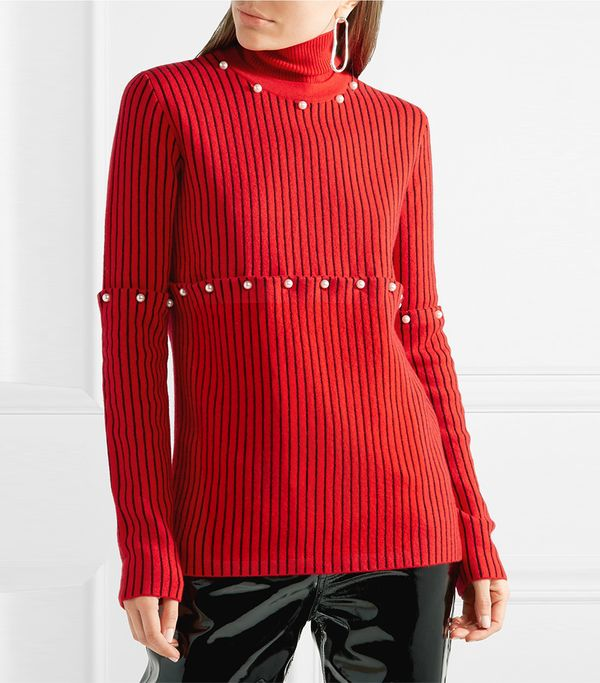 Convertible Faux Pearl-embellished Wool-jacquard Turtleneck Sweater