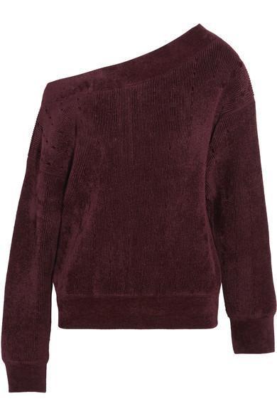 One-shoulder Velvet-trimmed Chenille Sweater
