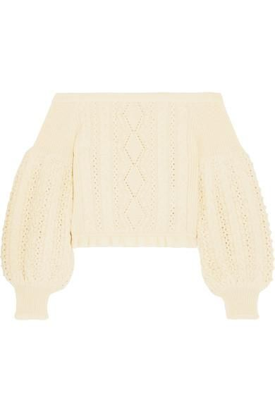 Off-the-shoulder Cable-knit Wool Sweater