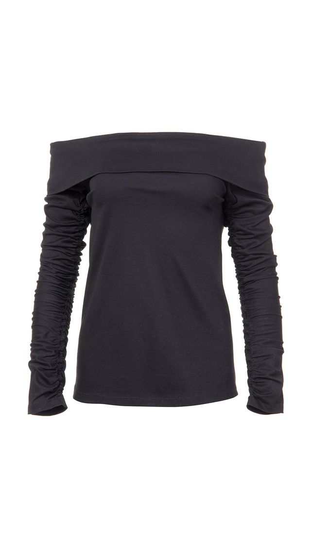 Mercerized Knit Off-the-Shoulder Ruched Sleeve Tee