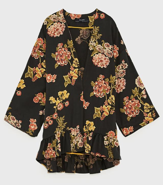Zara Printed Kimono With Ruffle