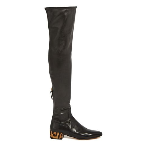 Over-the-Knee Leather and Calf-Hair Boots
