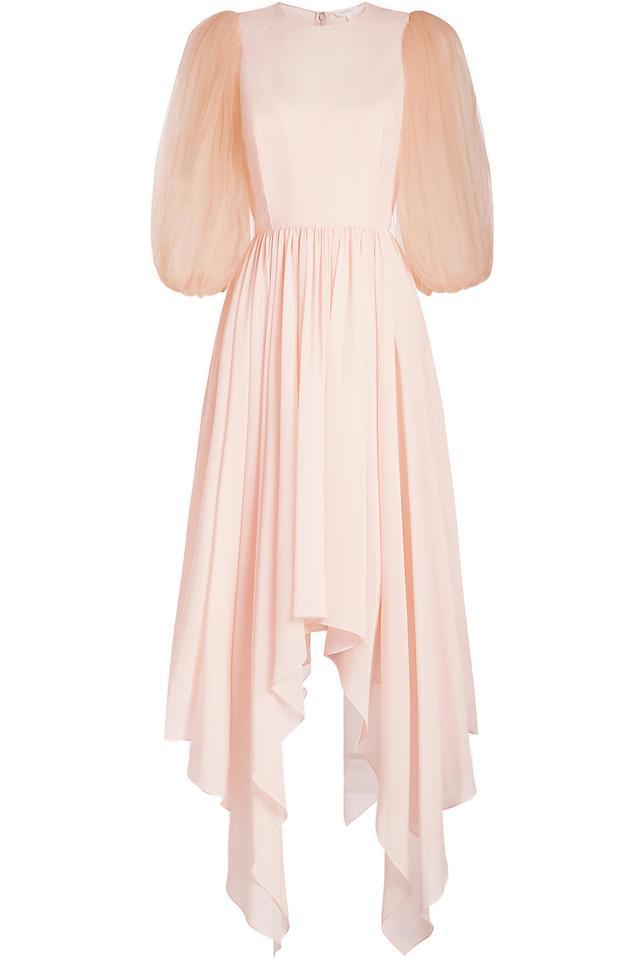 Delpozo Silk Dress With Chiffon Sleeves