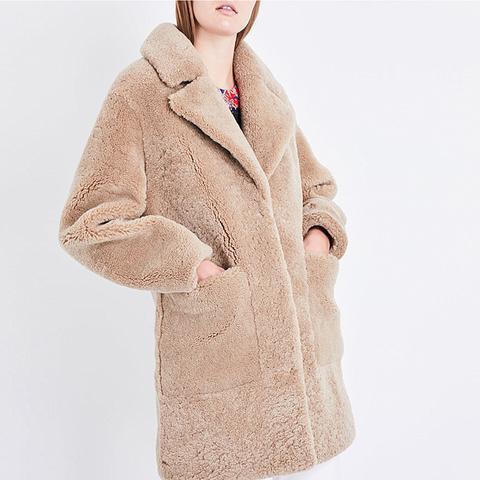 Ladies Beige Luxurious Notch-Lapel Shearling Coat
