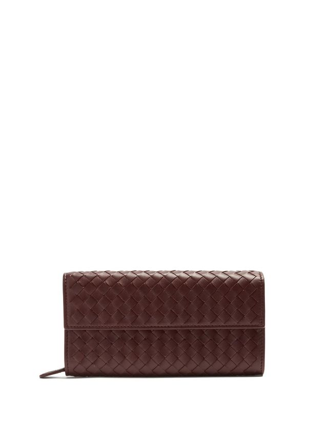 Intrecciato continental leather wallet