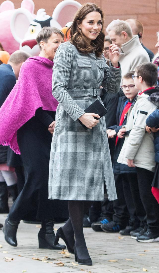 On Kate Middleton:L.K.BennettDelli Coat($663); Tod's shoes