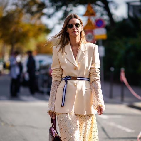 Street style cream blazer and dress