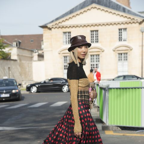 Street style black and red polka dots