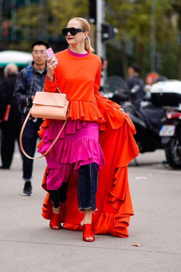 Street style orange and pink dress