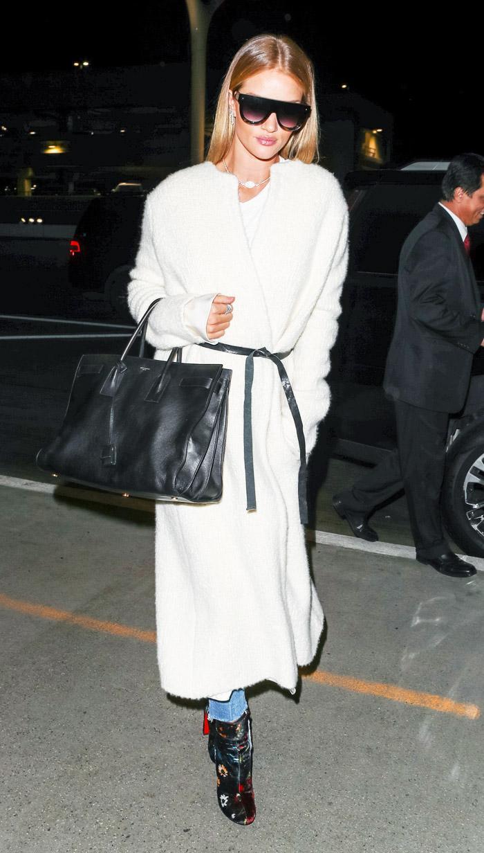 Rosie Huntington Whiteley white coat and belt