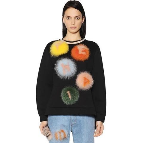 Sweatshirt with Fur Pom Poms