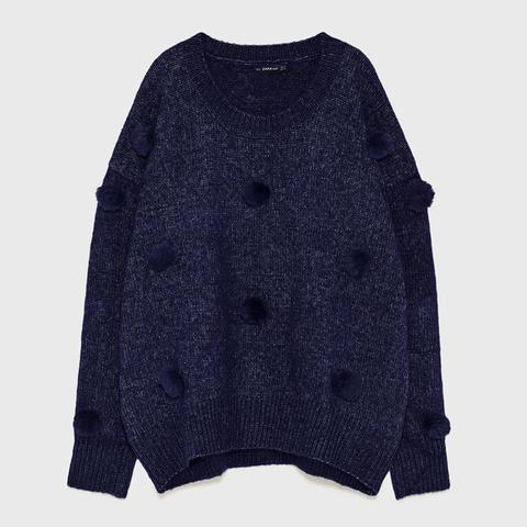 Oversized Pom Pom Sweater