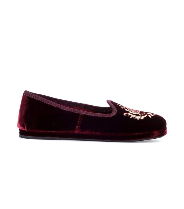 Miu Miu Embroidered Velvet Loafers