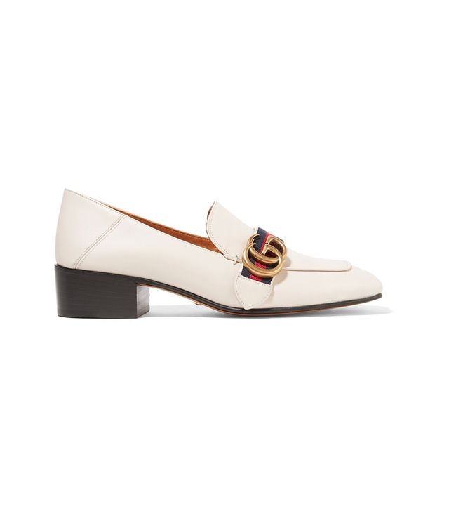 Gucci Embellished Leather Collapsible-Heel Pumps