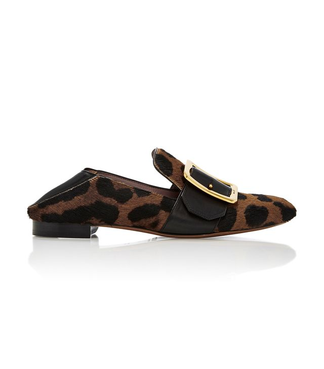 Janelle Leopard-Print Calf Hair Loafers