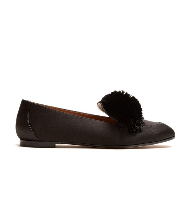 Aquazzura Wild Pompom-Embellished Satin Loafers