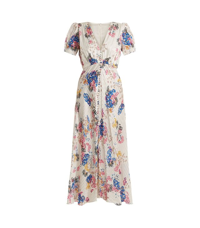 Lea deep V-neck floral-print silk-jacquard dress