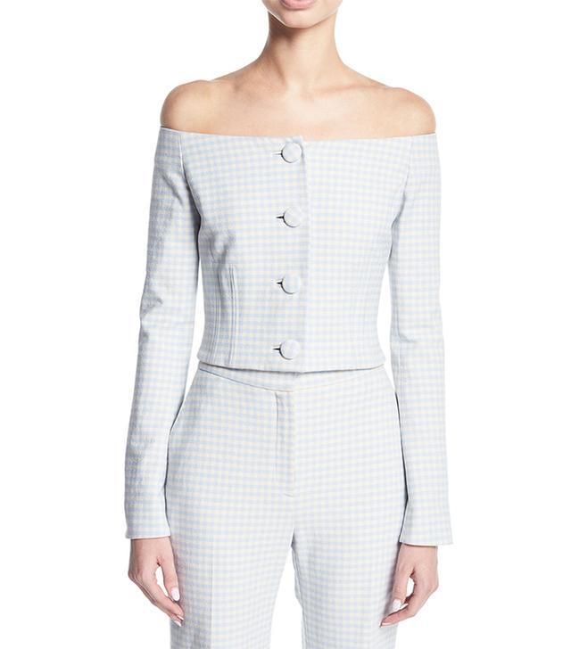 Jackie Off-the-Shoulder Gingham Suiting Jacket