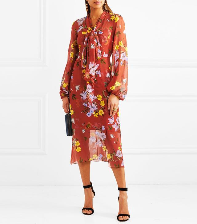 Tamaryn Pussy-bow Floral-print Silk-chiffon Dress
