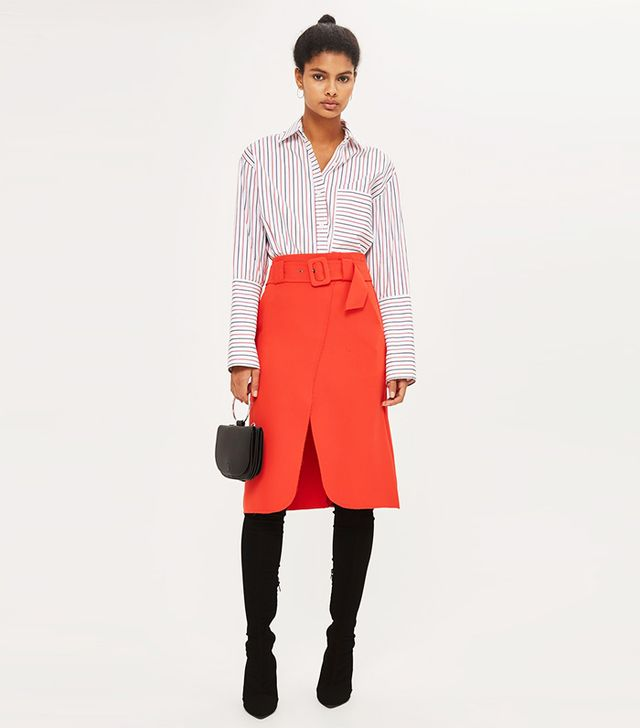 Belted Curve Wrap Midi Skirt