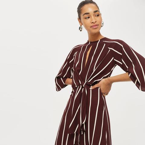 Mono Stripe Knot Front Dress