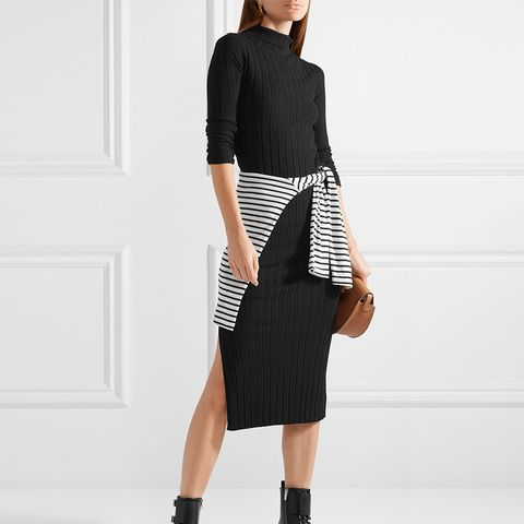 Ribbed-Knit Turtleneck Midi Dress