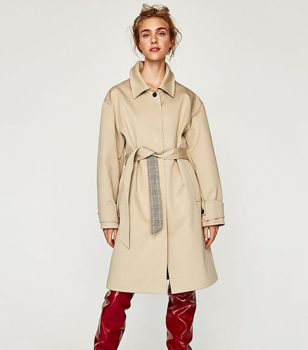 TRENCH COAT WITH CHECKED LINING
