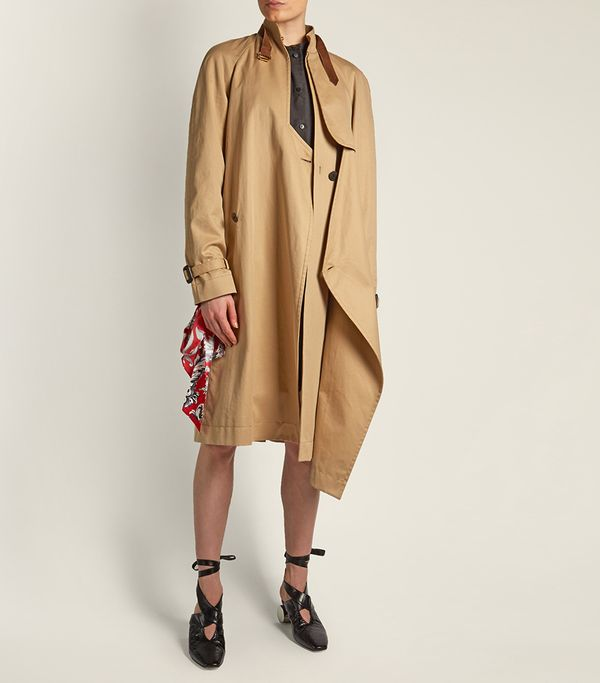 Asymmetric neck-strap cotton trench coat
