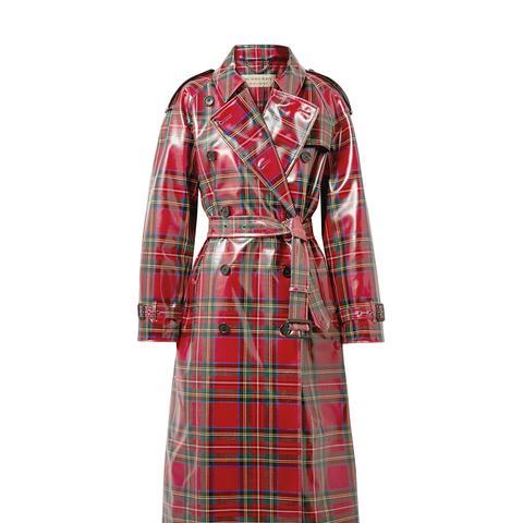 Coated-Tartan Wool Trench Coat