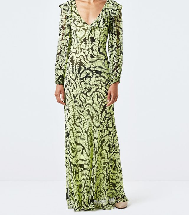 victoria beckham green dress and blue heels: Finery Assam Green Ferns Dress
