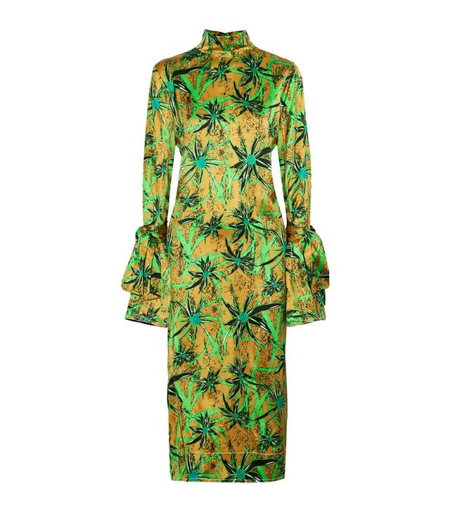 victoria beckham green dress and blue heels: Marni Ryon Button-Embellished Printed Satin Midi Dress