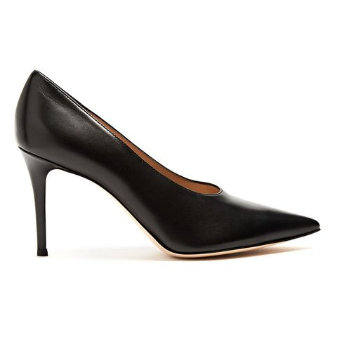 Muriel High-Cut Point-Toe Leather Pumps