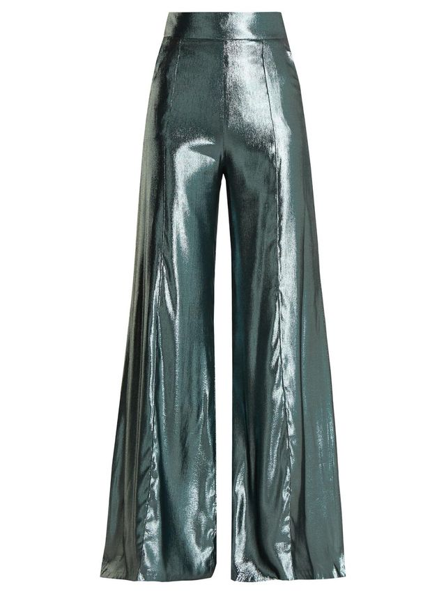 High-rise wide-leg silk-blend trousers
