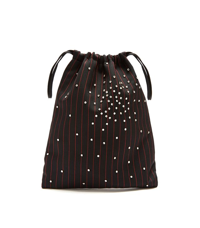 Crystal-embellished striped drawstring pouch